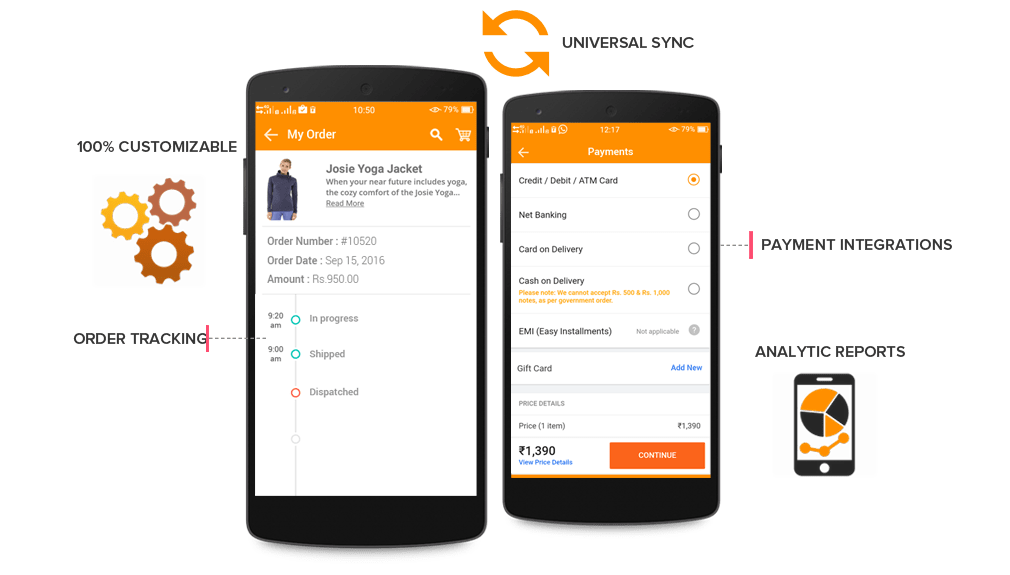 Mobile commerce app admin level features