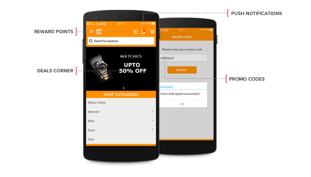 Mobile eCommerce app Features for marketing abilities